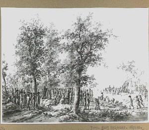 Protestantse en Rooms-Katholieke godsdienstoefeningen bij een militair kamp