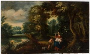De rust op de vlucht naar Egypte met Johannes de Doper als kind