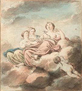 Allegorische voorstelling met figuren in een wolkenlucht