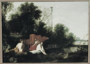 Landschap met saters, nimfen en vee, op de achtergond een meiboom