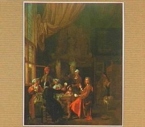 Interieur met kaartspelers en drinkers rondom een tafel