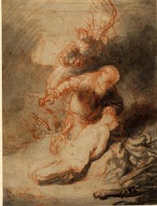 De engel voorkomt dat Abraham zijn zoon Isaak offert