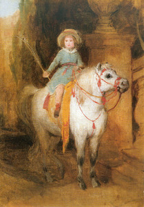 Prins Johann von Liechtenstein op een schimmelpony
