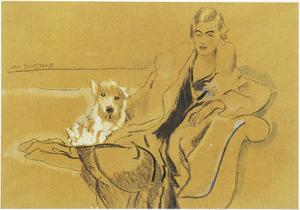 Portret van Ina van Blaaderen (1912-1997) met haar hond op een sofa