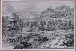 Bergachtig rivierlandschap met bebouwing