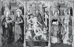 Heilige drieëenheid met engelen en heiligen