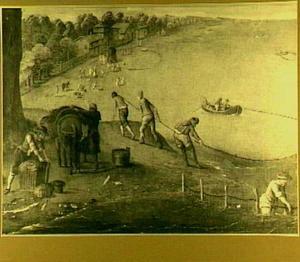 Vissers met hun netten aan een zuidelijke kust