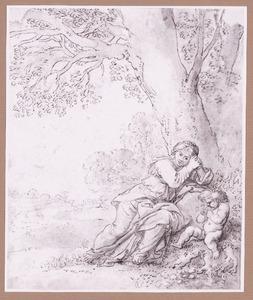 Kwijnende vrouw en putto onder een boom in landschap