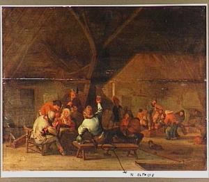 Musicerend en dansend boerengezelschap in een herberg