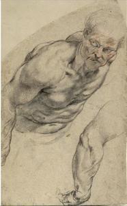 Studie van een oude man die naar voor leunt