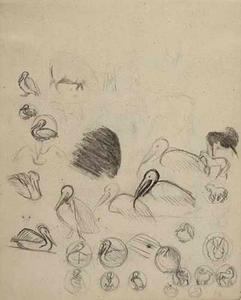 Schetsboekblad met schetsen van pelikanen, paarden en ontwerpen voor penningen