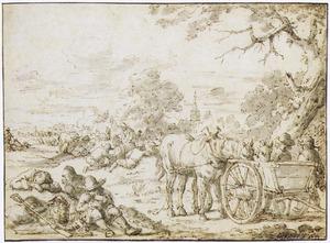 Landschap met rustende boeren