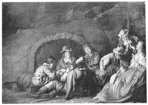 Rokende en kaartende soldaten, met een jonge vrouw in een interieur