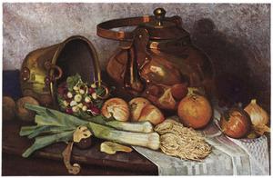 Stilleven met koperen ketel en groenten