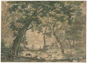 Arcadisch landschap met schaapherders