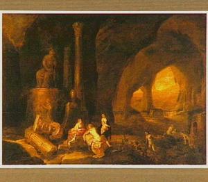 Diana en haar nimfen rustend in een grot
