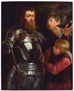Portret van een onbekende krijgsman met twee pages, mogelijk als de Sint Joris