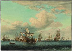 Vier veroverde Engelse schepen worden op 16 juni 1666 na de Vierdaagse Zeeslag het 'Goereese Gat' binnengebracht