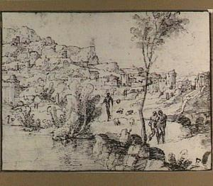 Bergachtig landschap met herder bij een rivier