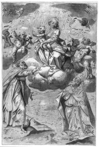 Maria met Kind verschijnt aan een bisschop en een andere heilige