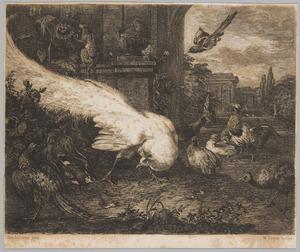 Een pauw, fazant, haan, ander gevogelte en een aapje in een paleistuin