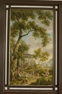 Arcadisch landschap met ronde tempel; allegorie de kindertijd