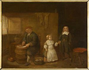 Interieur met een man die vis schoonmaakt en twee kinderen