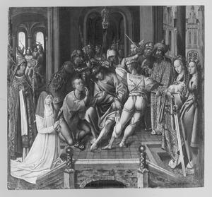 De doornenkroning met stichtster (non uit het klooster Mariënpoel bij Leiden)  en de HH. Augustinus, Agnes en Cecilia