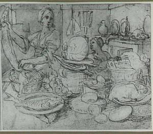 Keukeninterieur met twee vrouwen achter een tafel met voedsel