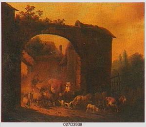 Zuidelijk landschap met herder die zijn kudde door een poort drijft