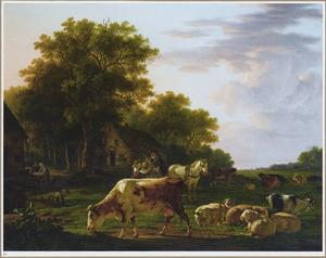Landschap met vee en een kar voor een boerdeij
