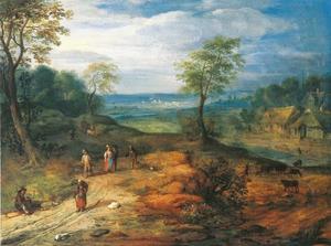 Reizigers op een zandweg in een heuvelachtig rivierlandschap