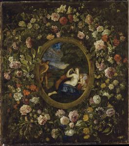 Medaillon met een voorstelling van Venus, Apollo en Cupido in een krans van bloemen