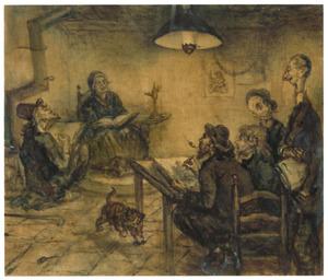 Tekenavond bij Pulchri Studio met Elchanon Verveer, David Bles, J.F. (of W.A.) van Deventer, Lambertus Hardenberg en een onbekende schilder
