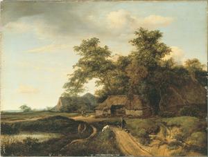 Landschap met een meertje en boerderijen lang een zandweg