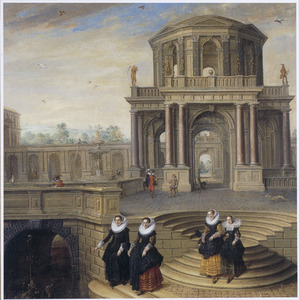 Fantasie-architectuur met vier elegant geklede vrouwen op de treden van een bordes