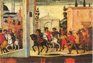 Aankomst van een delegatie in Siena