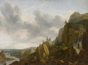 Noors rotslandschap met waterval en rivierdal