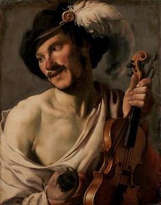Man met viool en glas