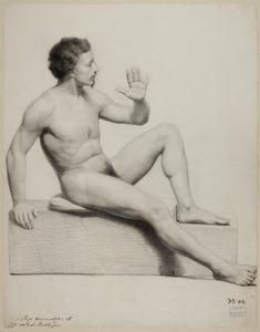 Naaktstudie van zittende man