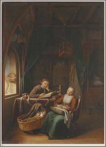 Interieur met een lezende man en een slapende vrouw bij een wieg