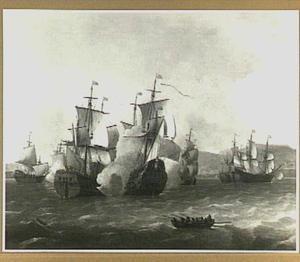 Het Engelse oorlogsschip 'Leopard' tijdens de zeeslag bij Livorno, 4 maart 1653 ten tijde van de Eerste Engelse Zeeoorlog 1652-1654