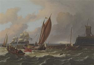 Schepen op het IJ of tsaar Peter de Grote zeilend nabij het Blauwhoofd in Amsterdam