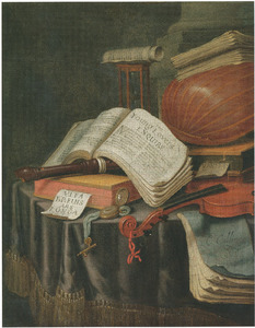 Vanitasstilleven met muziekinstrumenten, horloge en boeken