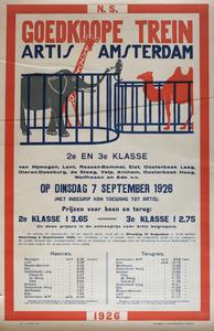 Artis NS-Affiche: 'Goedkoope trein Artis Amsterdam'