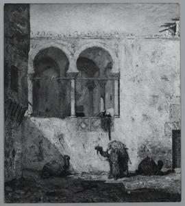 Moskeeplein met kamelen