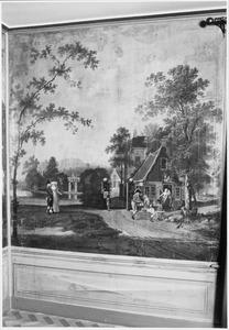Landschap met soldaten voor een herberg en een park van een buitenplaats op de achtergrond
