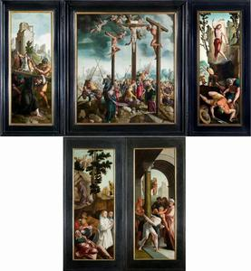 De kruisdraging (binnenzijde links), de kruisiging (midden), de opstanding (binnenzijde rechts); Christus in de Hof van Olijven en twee Kartuizer stichters (buitenzijde links), Christus aan de geselzuil (buitenzijde rechts)