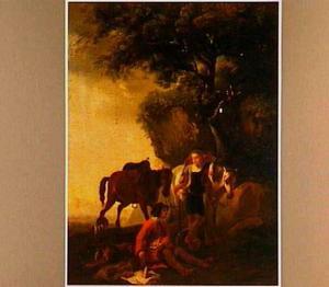 Twee rustende jagers in een landschap (de staande jager is een vrouw in mannenkleren)
