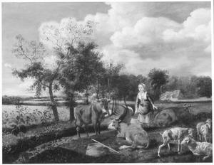 Landschap met melkmeid en vee, in de verte een boerderij